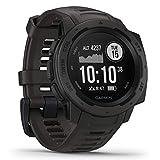 Garmin Instinct - äußerst robuste GPS-Outdoor-Smartwatch mit Sportprofilen (Radfahren, Laufen, Wandern etc.), bis zu 14 Tage Akku, Navigation, Herzfrequenzmessung am Handgelenk, wasserdicht bis 100m