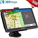GPS Navi Navigation für Auto LKW PKW 7 Zoll 16GB Lebenslang Kostenloses Kartenupdate Navigationsgerät mit POI Blitzerwarnung Sprachführung Fahrspurassistent 2019 Neueste Europa UK Karten