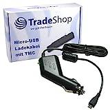 Trade-Shop Premium Micro-USB 2A KFZ-Ladekabel 12V/24V mit TMC Antenne (1,1m Länge) für Becker Active 45 50 Becker Professional 50 Becker Ready 45 Se 45 Lmu 45 EU 19 45 Ice