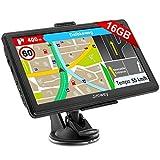 Jimwey Navigationsgerät für Auto LKW Navigation 7 Zoll Navi 16GB Navigationssystem Lebenslang Kostenloses Kartenupdate mit POI Blitzerwarnung Sprachführung Fahrspurassistent 52 Europa UK 2020 Karte