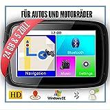 Elebest Rider W5 Navigationsgerät 5 Zoll (12,7 cm) Touchscreen,Motorrad,PKW,Bluetooth,Wasserdicht,Neuste Europa Karten Radarwarner,24GB Speicher,Blitzerwarnung, Inkl Halterung