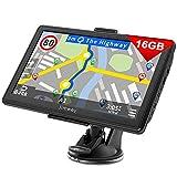 Jimwey Navigationsgerät für LKW Auto Navigation GPS Navi Navigationssystem Zoll 16GB Lebenslang Kostenloses Kartenupdate mit Blitzerwarnung POI Sprachführung Fahrspur 2020 Europa UK 52 Karten
