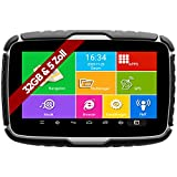 Elebest Navigationsgerät Rider A6+ Navigation für Motorrad und PKW, 5 Zoll Bildschirm Android 6.0 - Bluetooth W-LAN Wasserfest 32 GB Speicher Freisprecheinrichtung Fahrspurassistent Radarwarner