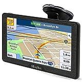 Hieha 7-Zoll-Navigationssystem für PKW-LKW-Fahrzeuge mit vorinstallierten neuesten EU UK 48-Karten, 8 GB 256 MB GPS-Navigationsgerät mit Autohalterung, lebenslange kostenlose Kartenaktualisierungen