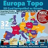 ★EUROPA Karte OutdoorTopo auf 32 GB microSD mit Höhenlinien für Garmin Edge 800 810 Montana 600 650t
