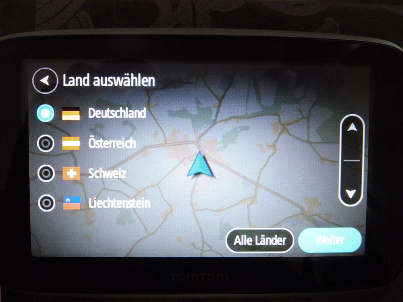 TomTom Go Premium welches Land als Karte auswählen