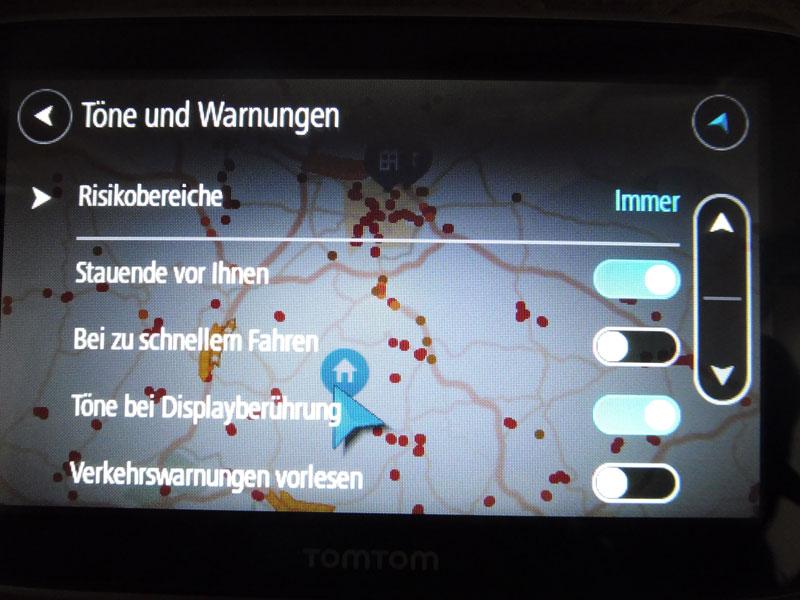 TomTom Go Premium Navigationsgerät Einstellungen von Warnungen
