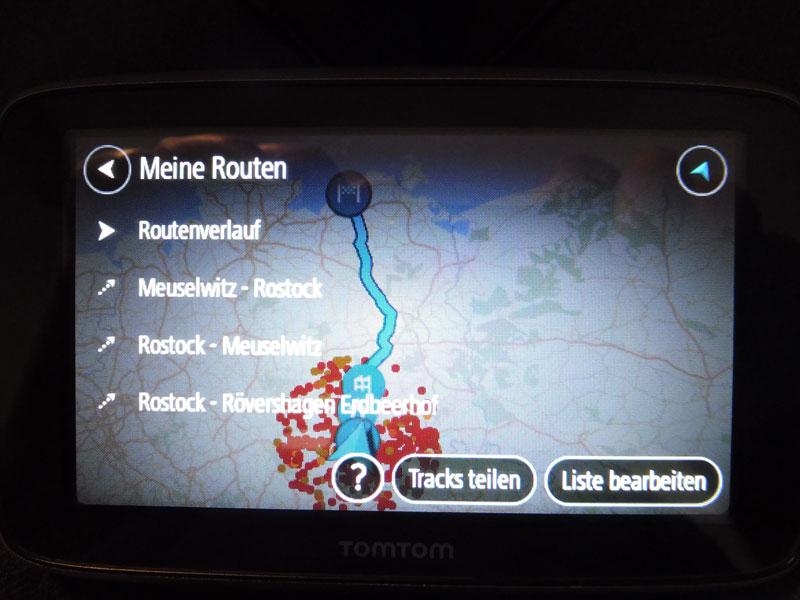 TomTom Go Premium Route die auf MyDrive erstellt wurden