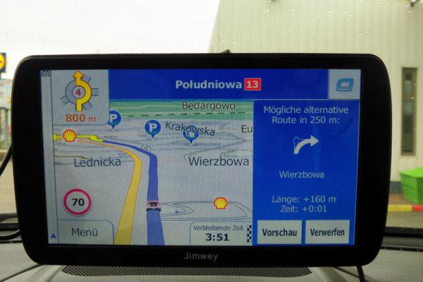 Jimwey Navigationsgerät 4. Ausfahrt im Kreisverkehr nehmen