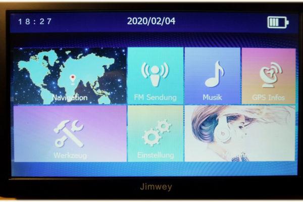 Jimwey Navi Hauptbildschirm