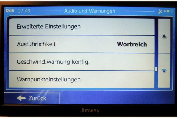 Jimwey Navi- Audio Einstellungen