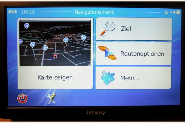 Jimwey Navigationsgerät Hauptmenü mit großen Buttons