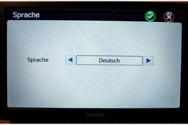 Jimwey Sprache am Navigationsgerät einstellen