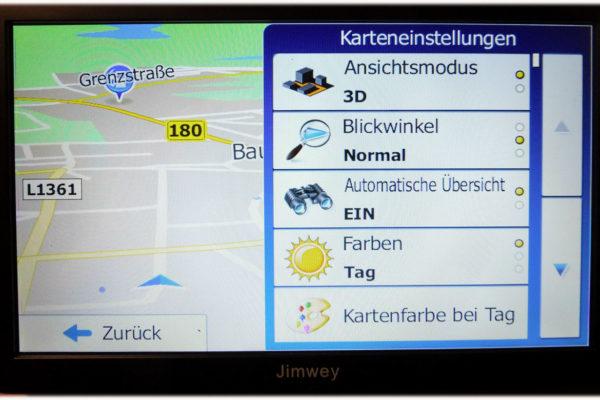 Navigationsgerät Jimwey verschiedene Karteneinstellungen