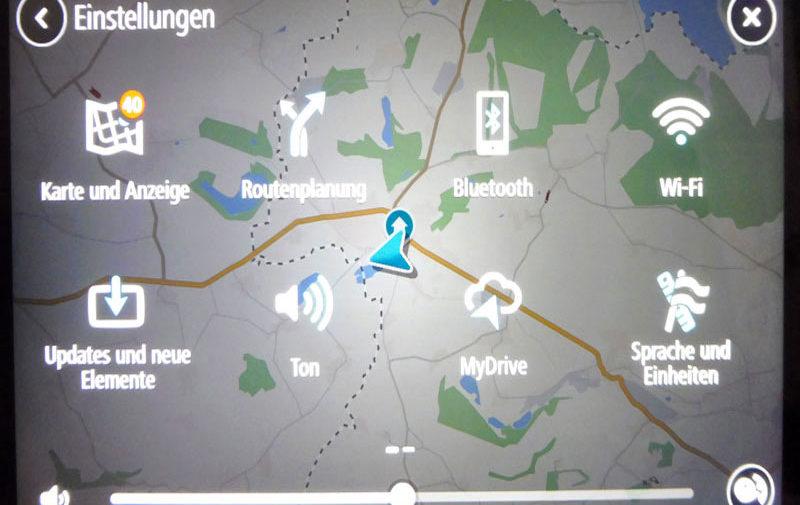TomTom Go Discover 7 Zoll Einstellungen vornehmen unter dem jeweiligen Button