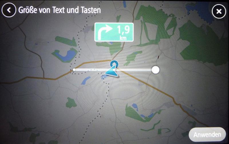 TomTom Go Discover 7 Zoll EInstellen von Größe für Schrift und Buttons