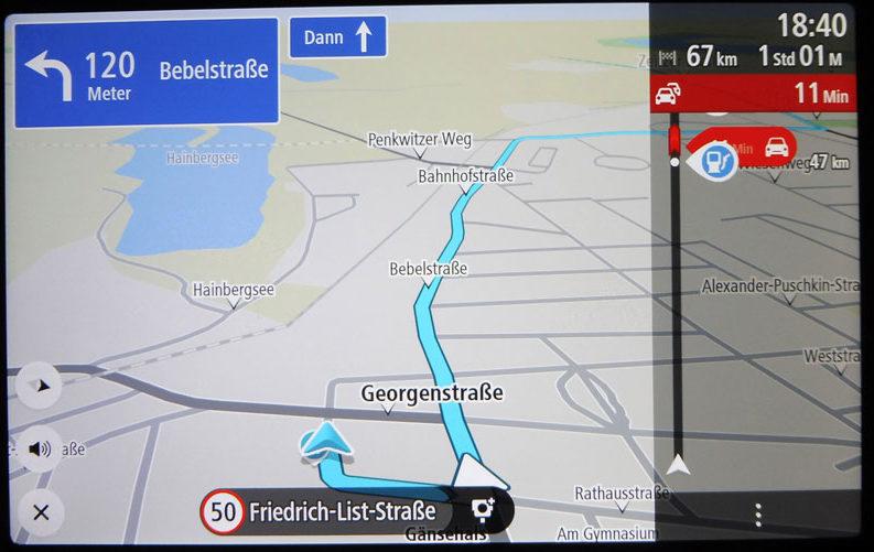 TomTom Go Discover 7 Zoll übersichtliche Route auf der Karte